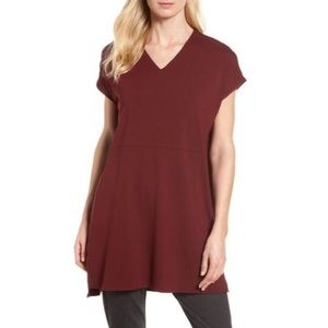 NWT Eileen Fisher Jersey V-Neck Tunic in Claret